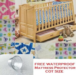 Baby Cot Bed Flat + Fitted Sheet + Pillow Case & Mattress Protector Soft Cotton