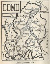 A4873 Provincia di Como - Carta geografica antica del 1953 - Old map
