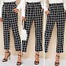 Women's High Waist Plaid Check Casual Trousers Ladies Loose Wide Leg Long Pants