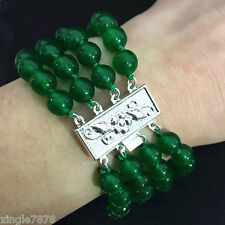 Natural 6mm 4 Row Green Emerald Gemstone Round Bracelet Bangle 7.5''