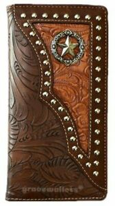 Star Mens Wallet Western Bifold Check Book Style W011-1 Daffodils Brown