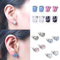 White Blue Dangle Fire Opal Stud Earrings Silver Plated Wedding Jewelry Women