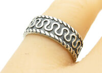 MEXICO 925 Silver - Vintage Swirl Patterned Twist Trim Band Ring Sz 7 - R12177