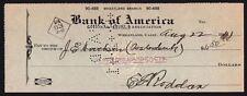 Cheque - USA - Bank of America, Wheatland, Calif, 1941