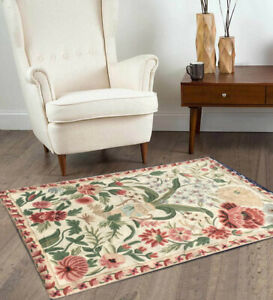 662 Vintage Aubusson Rug Handwoven Floral Needle point Home Decoration Rug 3x2