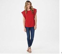 Belle by Kim Gravel TripleLuxe Knit Flutter Sleeve Lace Trim Top Red, Large