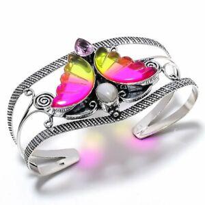 Bi-Color Tourmaline, Kunzite Gemstone 925 Sterling Silver Cuff Bracelet Adj. F27