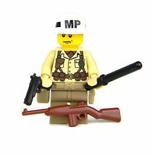 "US Army WW2 Military Police ""MP"" Soldier (SKU72) made with real LEGO® minifigure"
