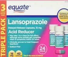 Equate Lansoprazole 42 Capsules 15 mg 24 Hour Acid Reducer  exp 02/18+