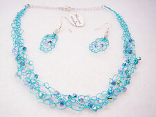 OOAK Hand made Blue wire crochet crystal necklace and earrings set