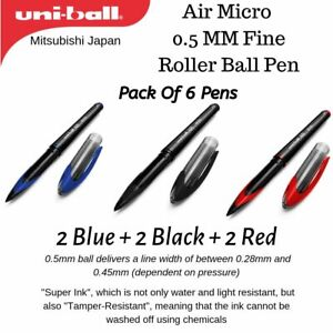 UniBall AIR MICRO 0.5mm Rollerball Pen, Set of 6 Pens 2 Red + 2 Blue + 2 Black