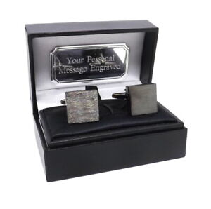 Brushed Black IP Plate Square Square Mens Cufflinks in a Personalised Gift Box