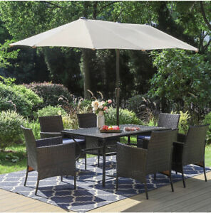 Patio Dining Set with Umbrella 8 piece with Chairs and Cushions