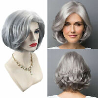 Short Curly Wig Grey Full Head Natural Synthetic Hair Party Fancy Dress Costume