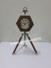 Vintage Nautical Collectible  Wooden Clock On Tripod Desk Clock Table Clock