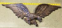"26"" Wingspan Vintage Cast Metal EAGLE Raptor WALL DECOR HANGING Bird Vtg"