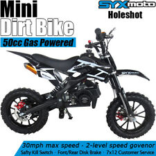 SYXMOTO Kids Mini Dirt Bike Gas Power 2-Stroke 49cc Motorcycle Beginner, Black