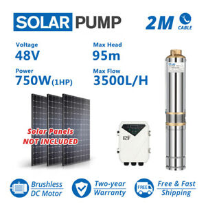 """Solar DC 3"""" Water Well Bore Pump 48V 1HP Submersible MPPT Controller Brushless"""