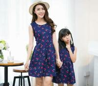 New Summer Mother Daughter Dress Girl Clothes Women Casual Dress Family Clothing