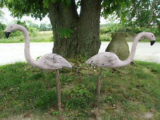 Stunning Old Pottery Vintage/Antique Yard/Garden Flamingos Small Hard To Find