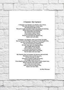 O Captain! My Captain! by Walt Whitman - Poem - A4 Size