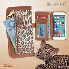 Leopard Zip Wallet Bag ID Card Flip Leather Case Cover For iPhone 6s 6 s Plus