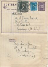 Netherlands Indies Indonesia MIX stationery postblad 1949 airmail to Indiana USA