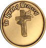 In Loving Memory Cross Rose Memorial Bronze Medallion Gift Coin Chip