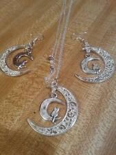 silver chain tibetan silver moon pendant earring set vintage