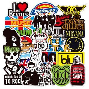 100 Rock Stickers Lot Heavy Metal Punk Band Music Guitar Car Decals Skateboard