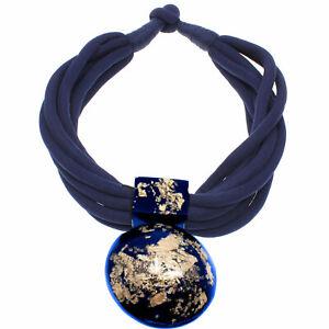 Blue and gold large chunky statement pendant choker necklace fashion jewellery