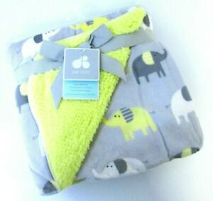 Just Born gray yellow white elephants soft yellow Sherpa Back Baby Blanket 264[]