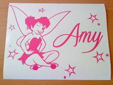 Personalizado Cualquier Nombre Rosa Tinkerbell Hada Polvo Estrellas Chicas Pegatina de vinilo coche