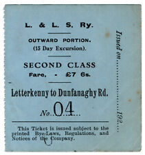 (I.B) Londonderry & Lough Swilly Railway : Second Class Fare £7 6/-