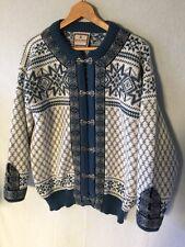 DALE OF NORWAY Unisex Sweater MEDIUM M Wool Cardigan Norwegian Classic BLUE
