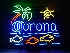 "New Corona Extra Macaw Fish Palm Tree Beer Neon Light Sign 20""x16"""