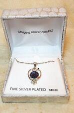 Drusy Quartz Purple Blue Silver Plated Womens Pendant Necklace
