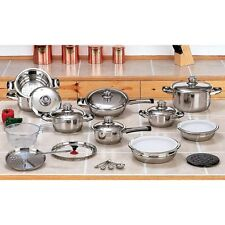NEW 28pc 12 Element Stainless Steel Waterless Cookware Set includes Plastic Lids