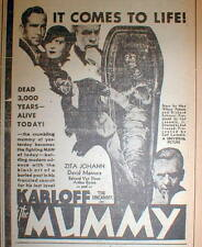 1933 newspaper illustrated display ad 4 opening of BORIS KARLOFF movie THE MUMMY