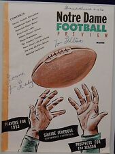 AUTOGRAPHED COLOR COLLEGE FOOTBALL MAGAZINE 1953 NOTRE DAME>>FRANK LEAHY