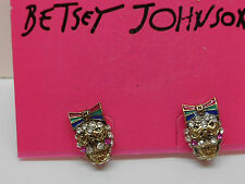 Betsey Johnson Ivy League Small Skull Stud Earrings W Heart Shape Eyes & Bow