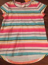 Gymboree Girls Striped Top Tee Pink Pink Blue Yellow 100% Cotton Size M 7-8