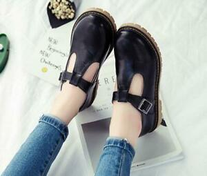 Womens Mary Jane T-Strap Shoes Retro Ladies Flat Round Toe Sweet Shoes