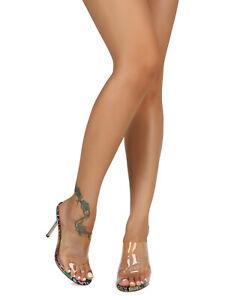 Women Transparent PVC Peep Toe Stiletto Mule Heel Sandal 19156