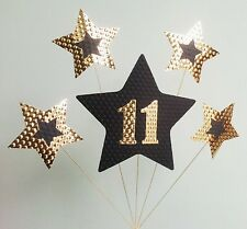 11th BIRTHDAY CAKE TOPPER. STARS, Gold and Black.