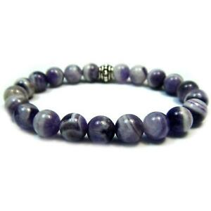 Chevron (Banded) Amethyst 8mm Round Crystal Bead Bracelet with Description Card