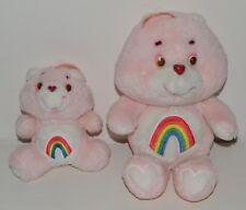 2 Peluche BISOUNOURS Plush Care Bears Grosfarceur Cheer Bear Vintage 18 et 33 cm
