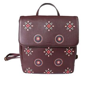 Fossil Vegan Backpack 'Maroon Multi' Colourful Boho Floral Medium Size RRP $299
