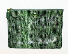 "COACH F67523 Green Snake Embossed Leather Zip Tablet Sleeve 8.5"" x 11.5"""