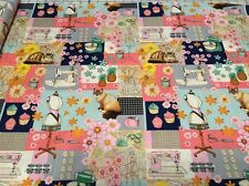 Home Sweet Home patchwork Cotton Fabric w cats per yard quilt  craft, quilt, sew